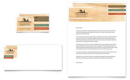 Home builders & construction business card & letterhead template.