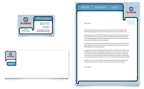 Plumbing Services Business Card & Letterhead Template Design