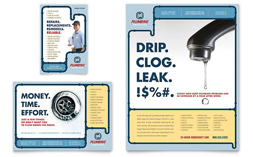 Plumbing Services Flyer & Ad Template Design