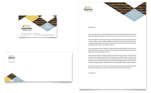 Roofing Contractor Business Card  Letterhead Template Design