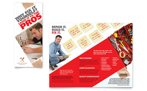 Handyman Services Tri Fold Brochure Template Design