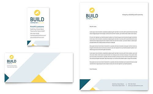 Contractor Business Card & Letterhead Template Design