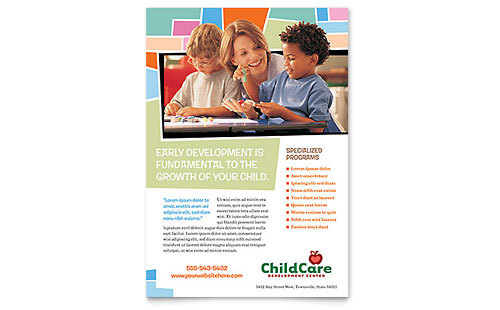 Preschool  Kindergarten  Flyer Templates  Education  Training