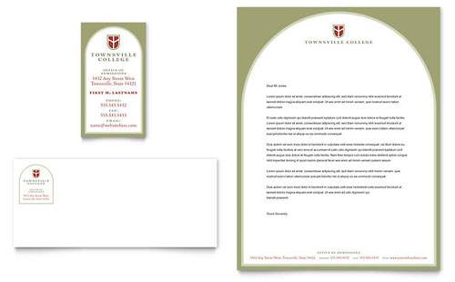 College university business card letterhead template design wajeb