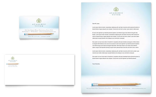 Academic Tutor & School Business Card & Letterhead