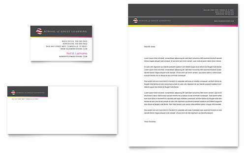 Adult Education & Business School Business Card & Letterhead