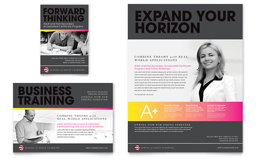 Adult Education & Business School Flyer & Ad Template Design