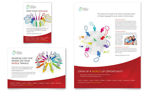 Language Learning Flyer & Ad Template Design