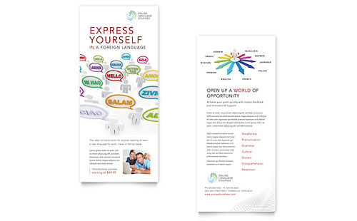 Language Learning Rack Card Template Design