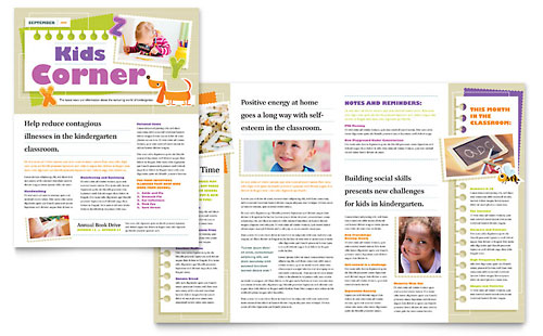 Kindergarten Newsletter Template Design