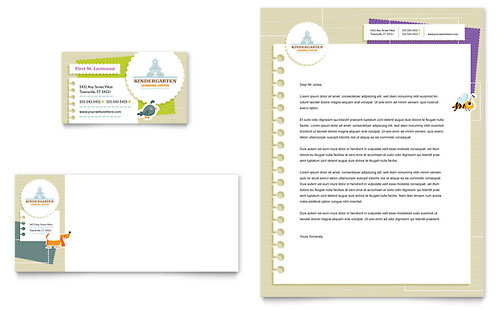 Kindergarten Business Card & Letterhead Template Design