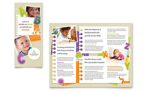 Kindergarten Tri Fold Brochure Template Design