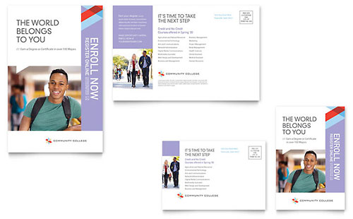Community College Postcard Template Design