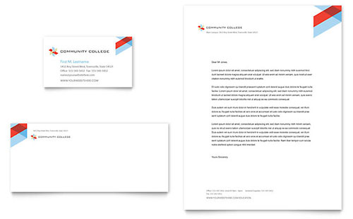 Community College Business Card & Letterhead Template Design