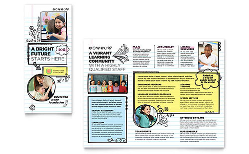 Elementary School Tri-Fold Brochure Template Design