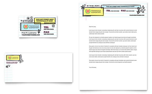 Elementary School Business Card & Letterhead