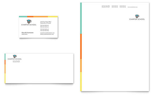 Charter School Business Card & Letterhead Template Design