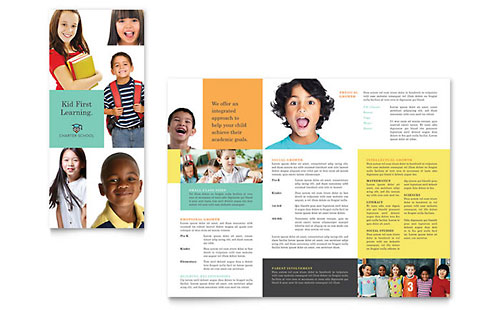 Charter School Tri Fold Brochure Template Design