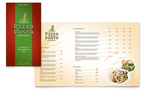 Italian Pasta Restaurant Take-out Brochure Template Design