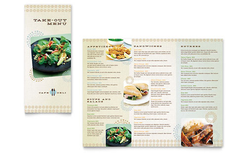 Cafe Deli Take-out Brochure Template Design