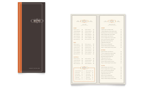 Bistro Bar Takeout Brochure Template Design - Half fold brochure template free