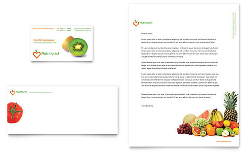 Nutritionist & Dietitian Business Card & Letterhead Template Design