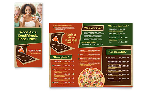 restaurant brochure templates - pizza pizzeria restaurant take out brochure template design