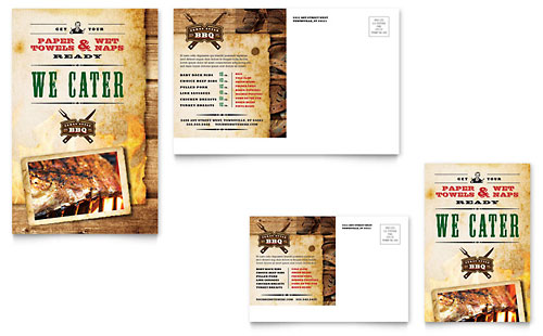Steakhouse BBQ Restaurant Postcard Template Design
