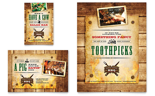 Steakhouse BBQ Restaurant Flyer & Ad Template Design