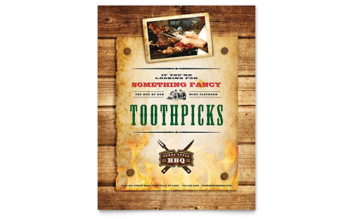 Steakhouse BBQ Restaurant Flyer Template Design