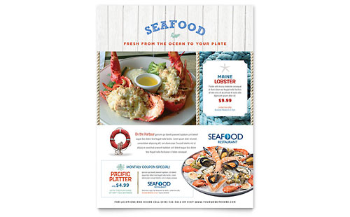 seafood restaurant templates brochures flyers business cards