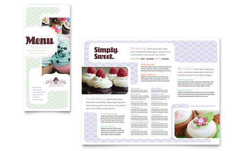 Bakery & Cupcake Shop Menu