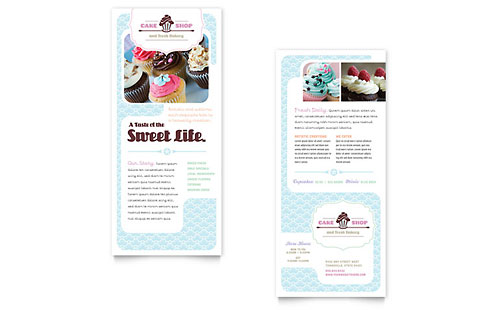 Bakery & Cupcake Shop Rack Card Template Design