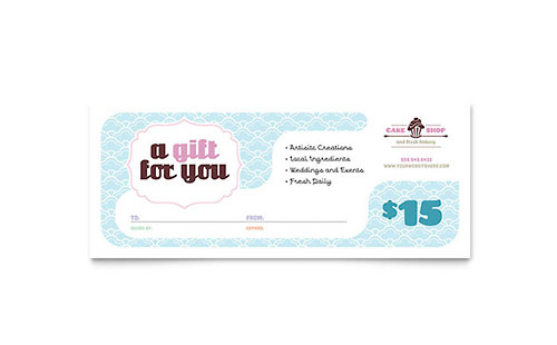 Bakery & Cupcake Shop Gift Certificate Template