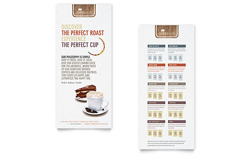 Coffee Shop Rack Card Template Design
