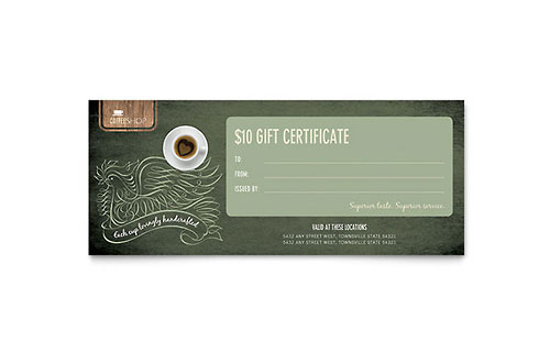 Coffee Shop Gift Certificate Template Design