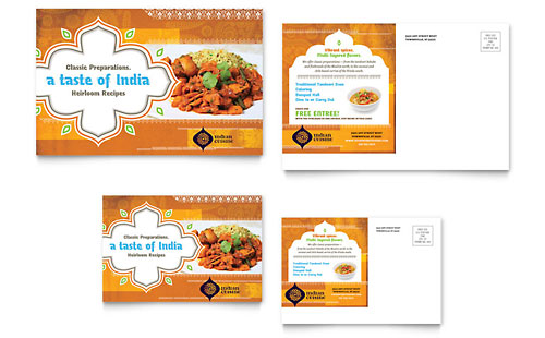 Indian Restaurant Postcard Template Design
