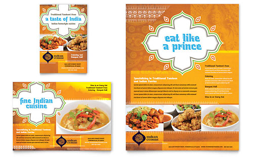 indian restaurant flyer ad template design