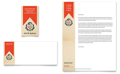Culinary School Business Card & Letterhead Template Design