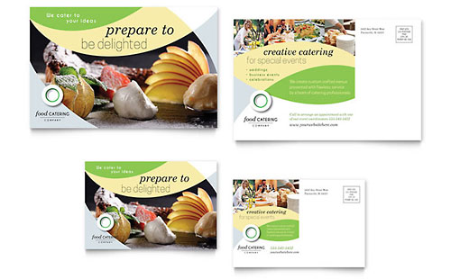 Food Catering Postcard Template Design