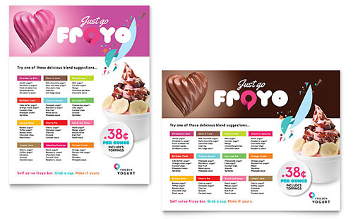 Frozen Yogurt Shop Poster Template Design