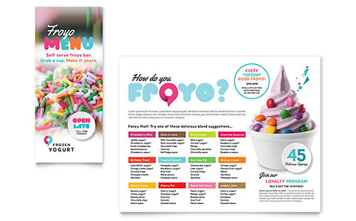 Frozen Yogurt Shop Take-out Brochure Template Design
