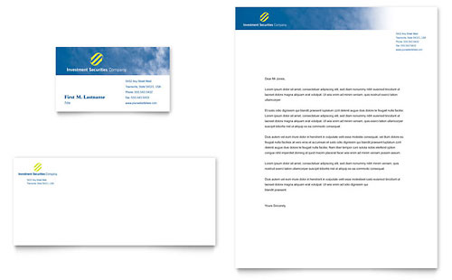 Investment Securities Company Business Card & Letterhead Template Design