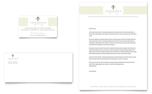 Life & Auto Insurance Company Business Card & Letterhead