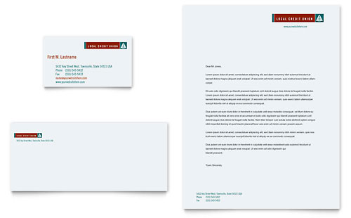 Credit Union & Bank Business Card & Letterhead