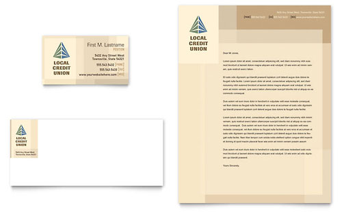 Credit Union & Bank Business Card & Letterhead Template Design