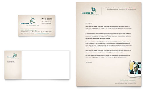 Life Insurance Company Business Card & Letterhead Template Design