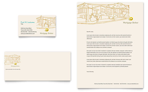 Mortgage Broker Business Card & Letterhead Template Design