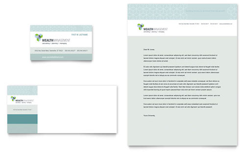 Wealth Management Services Business Card & Letterhead Template Design