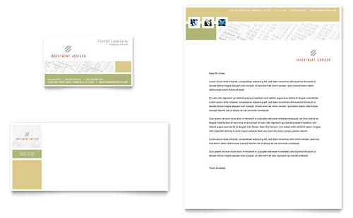 Investment Advisor Business Card & Letterhead Template